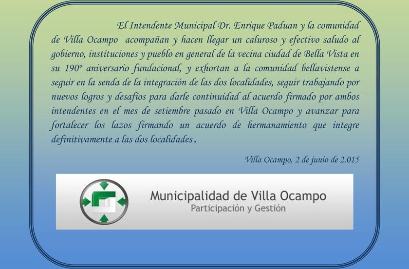 Saludo del Intendente de Villa Ocampo por el aniversario de Bella Vista