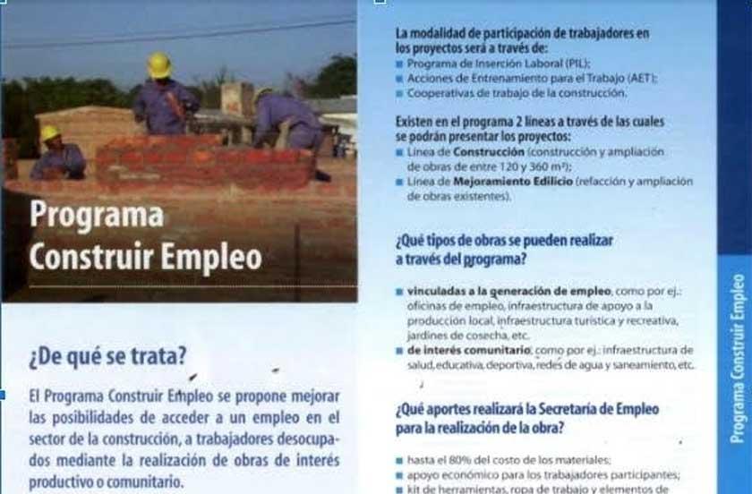 Bella Vista accede a 2 Programas Construir Empleo