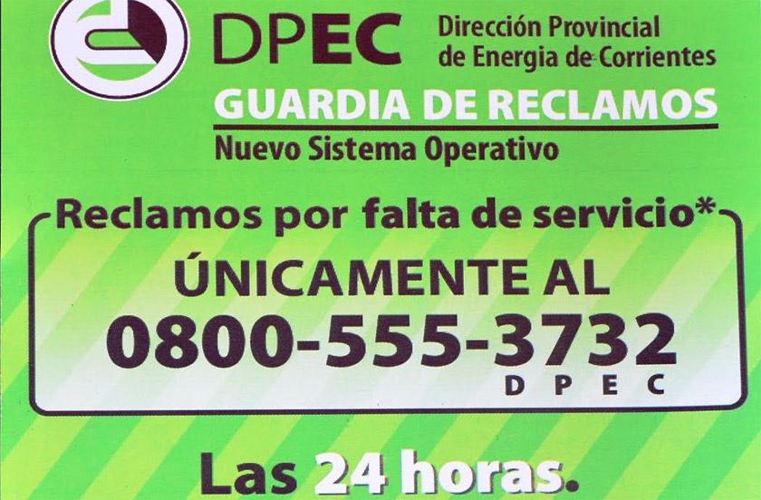 La DPEC con nuevo teléfono para reclamos