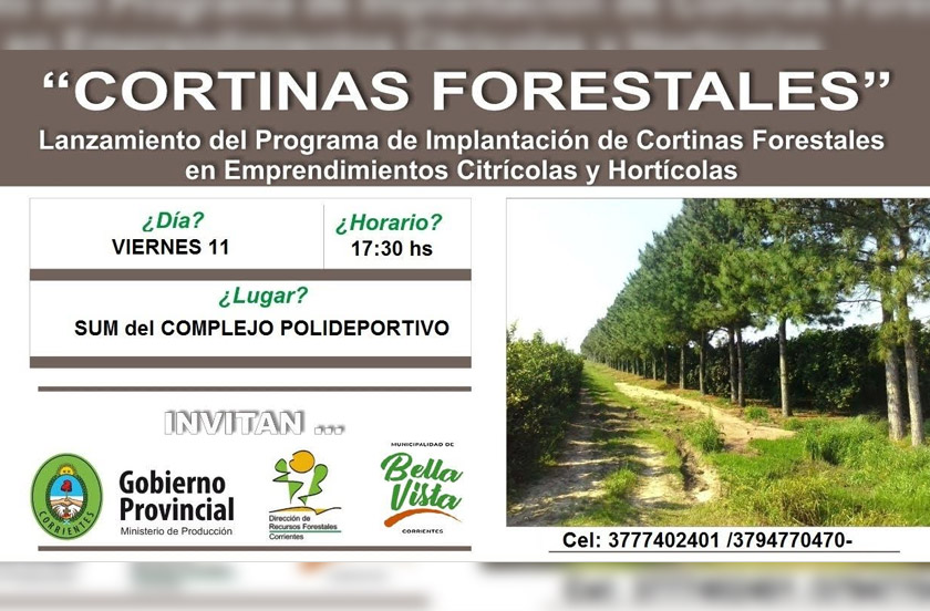 Presentarán en Bella Vista el programa de Implantación de Cortinas Forestales
