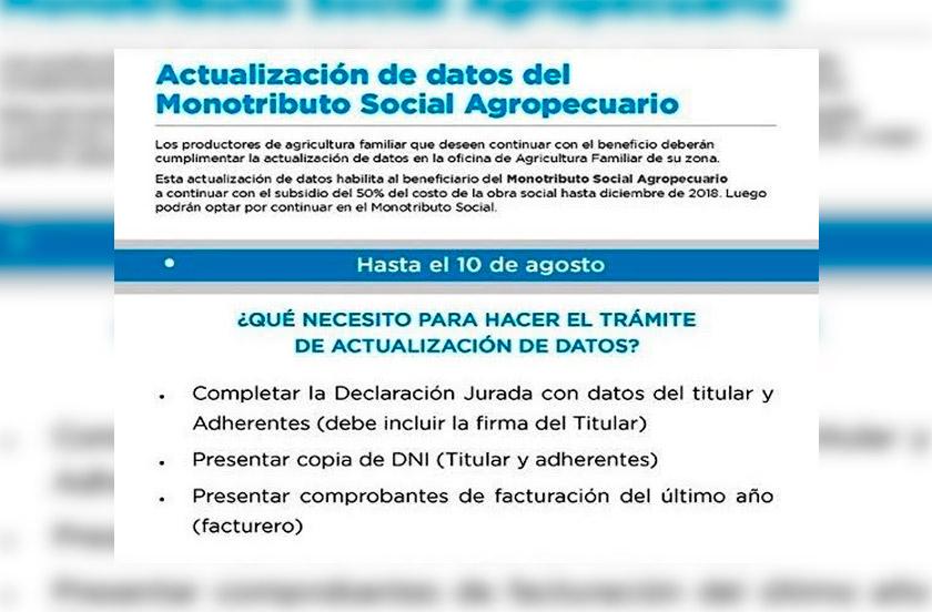 Solicitan actualización del Monotributo Social Agropecuario