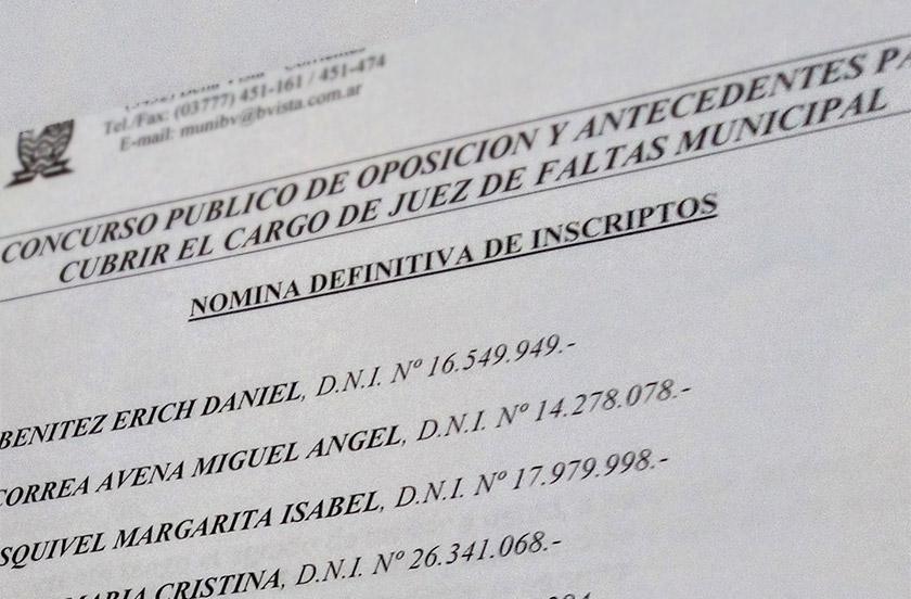 Confirman nómina definitiva de aspirantes al Juzgado de Faltas